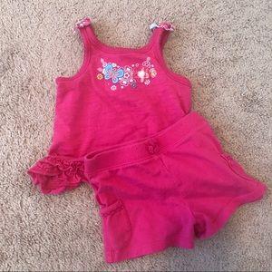 Toddler Girls 2 Pcs Hot Pink Tank Shorts Set 12 m